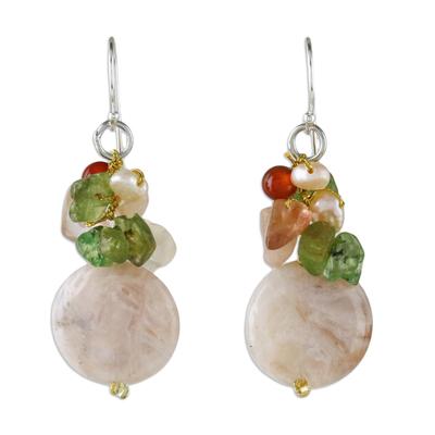 Multi-Gemstone Beaded Cluster Earrings from Thailand