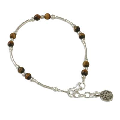 Tiger's eye beaded bracelet, 'Lovely Life' - Tiger's Eye Beaded Bracelet from Thailand