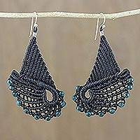 Beaded dangle earrings, 'Angelic Flight' - Wing-Shaped Beaded Dangle Earrings from Thailand