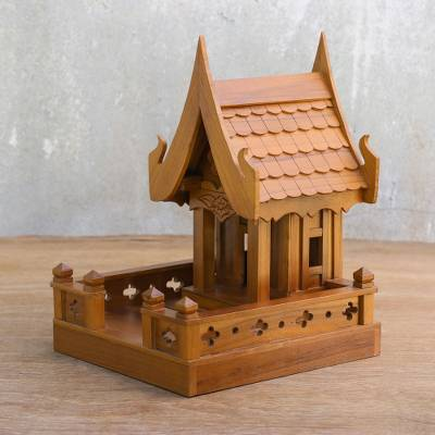 Traditional House Teakwood Spirit House from Thailand, 'Happy House'