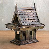 Teakwood spirit house, 'Thai Home' - Teakwood Spirit House Decorative Accent from Thailand
