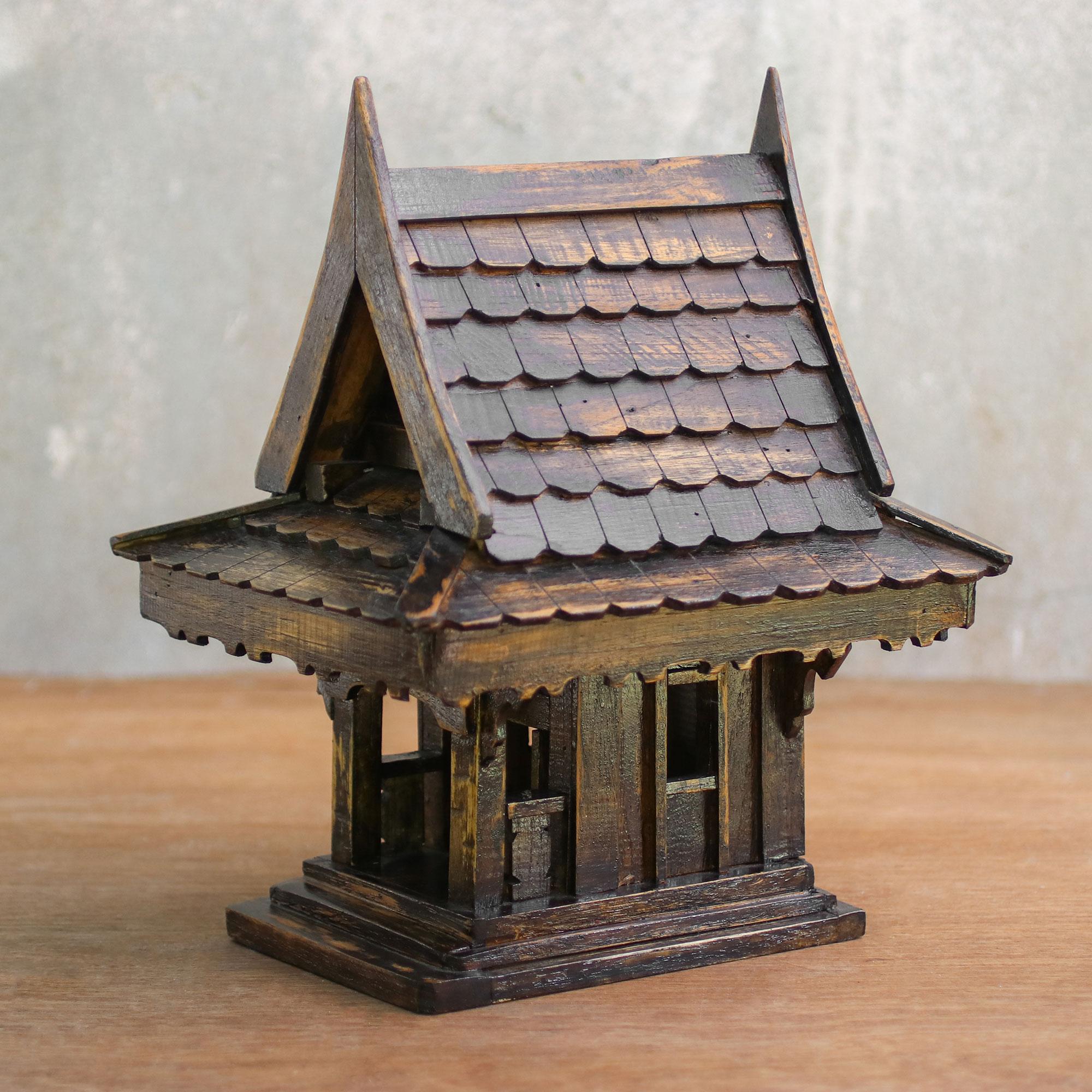 Teakwood Spirit House Decorative Accent From Thailand Thai Home