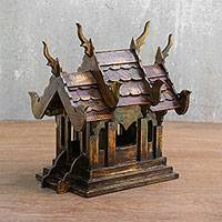 Teakwood spirit house, 'Heavenly House' - Teakwood Decorative Spirit House Accent from Thailand