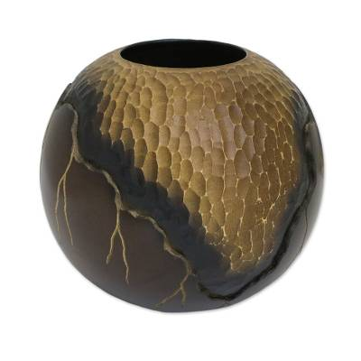 Hand Carved And Etched Mango Wood Decorative Spherical Vase Geotic
