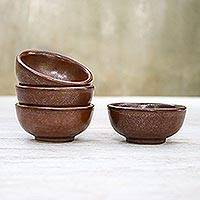 Ceramic condiment bowls, 'Earthen Style' (set of 4) - Rustic Chestnut Brown Ceramic Condiment Bowls (Set of 4)