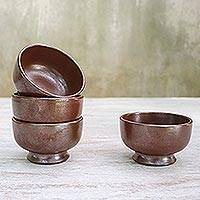 Ceramic dessert bowls, 'Earthen Style' (set of 4) - Rustic Chestnut Brown Ceramic Dessert Bowls (Set of 4)