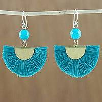 Quartz dangle earrings, 'Festival in Cerulean' - Quartz and Brass Bead Dangle Earrings with Cotton Fringe