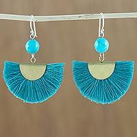 Quartz dangle earrings, 'Festival in Cerulean' - Quartz and Brass Bead Dangle Earrings with Cotton Fringe