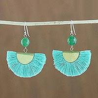 Quartz dangle earrings, 'Festival in Light Blue' - Quartz and Brass Bead Dangle Earrings with Cotton Fringe