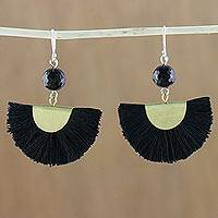 Quartz dangle earrings, 'Festival in Black' - Quartz and Brass Bead Dangle Earrings with Cotton Fringe
