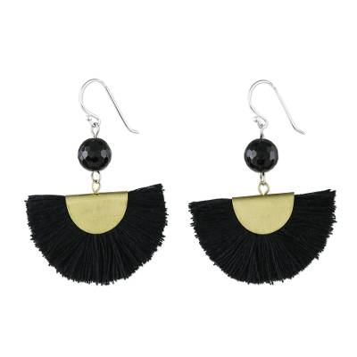 Quartz and Brass Bead Dangle Earrings with Cotton Fringe