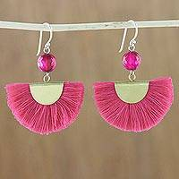 Quartz dangle earrings, 'Festival in Pink' - Quartz and Brass Bead Dangle Earrings with Cotton Fringe