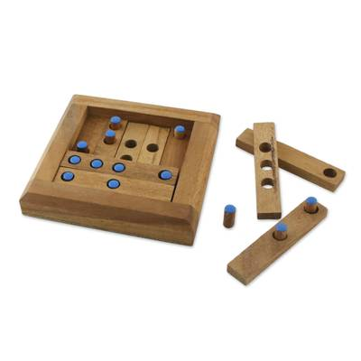 Wood puzzle, 'Blue Dots' - Blue Dot Raintree Wood Puzzle from Thailand