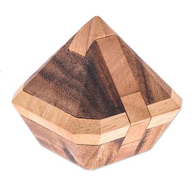 Wood puzzle, 'Brilliant Diamond' - Diamond-Shaped Raintree Wood Puzzle from Thailand