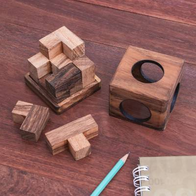 Wood puzzle, 'Soma Cube' - Raintree Wood Soma Cube Puzzle from Thailand