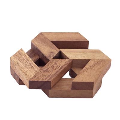 Wood puzzle, 'Elegant Hexagon' - Hexagonal Raintree Wood Puzzle from Thailand