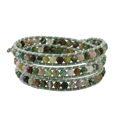 Agate beadedwrap bracelet, 'Stroll Through Nature' - Unisex Agate Bead and Karen Silver Button Wrap Bracelet