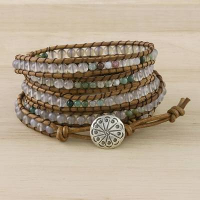 Agate and chalcedony beaded wrap bracelet, 'Mist in the Fields' - Agate Chalcedony Bead and Karen Silver Button Wrap Bracelet