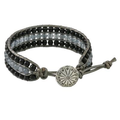 Onyx and quartz beaded wristband bracelet, 'Midnight Clouds' - Onyx Quartz Bead and Karen Silver Button Wristband Bracelet