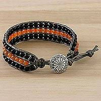 Onyx and carnelian beaded wristband bracelet, 'Comet Tail' - Onyx Carnelian and Karen Silver Button Wristband Bracelet