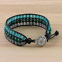Serpentine wristband bracelet, 'Horizon at Sea' - Quartz Serpentine and Karen Silver Button Wristband Bracelet
