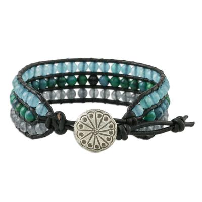 Serpentine and quartz beaded wristband bracelet, 'Horizon at Sea' - Quartz Serpentine and Karen Silver Button Wristband Bracelet