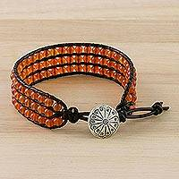 Carnelian beaded wristband bracelet,