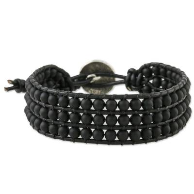 Glass bead wristband bracelet, 'In The Shadows' - Matte Black Bead and Karen Silver Button Wristband Bracelet