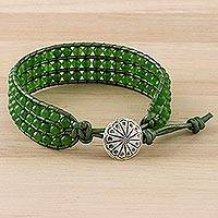 Quartz beaded wristband bracelet, 'Verdant Field' - Green Quartz and Karen Silver Button Wristband Bracelet