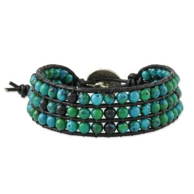 Serpentine beaded wristband bracelet, 'Lagoon Depths' - Serpentine Bead and Karen Silver Button Wristband Bracelet