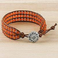 Carnelian beaded wristband bracelet, 'Sunlit Dawn' - Carnelian Bead and Karen Silver Button Wristband Bracelet