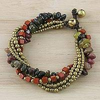 Jasper and tourmaline beaded bracelet, 'Boho Warmth' - Jasper and Tourmaline Beaded Bracelet from Thailand