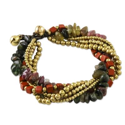Jasper and tourmaline torsade bracelet, 'Boho Warmth' - Jasper and Tourmaline Torsade Bracelet from Thailand