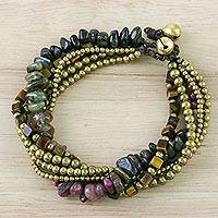 Tiger's eye and tourmaline beaded bracelet, 'Boho Cool' - Tiger's Eye and Tourmaline Beaded Bracelet from Thailand