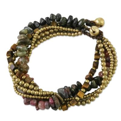 Tiger's eye and tourmaline torsade bracelet, 'Boho Cool' - Tiger's Eye and Tourmaline Torsade Bracelet from Thailand