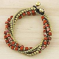 Jasper torsade bracelet, 'Boho Beautiful' - Handcrafted Colorful Jasper Torsade Bracelet from Thailand