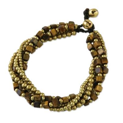 Tiger's eye torsade bracelet, 'Boho Earth' - Handmade Tiger's Eye Torsade Bracelet from Thailand
