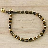 Tiger's eye beaded bracelet, 'Forest Walk' - Handmade Tiger's Eye Beaded Bracelet from Thailand