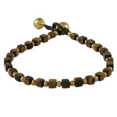 Tiger's eye beaded bracelet, 'Forest Walk' - Handmade Tiger's Eye Beaded Bracelet from Thailand