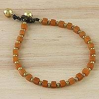 Quartz beaded bracelet, 'Summer Burst' - Handmade Orange Quartz Beaded Bracelet from Thailand