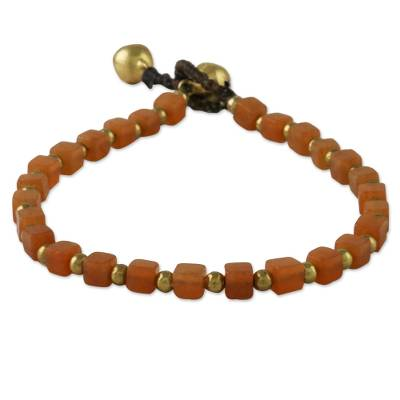 Handmade Orange Quartz Beaded Bracelet from Thailand