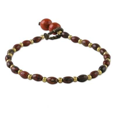 Jasper beaded bracelet, 'Fresh Start' - Handcrafted Jasper and Brass Beaded Bracelet from Thailand