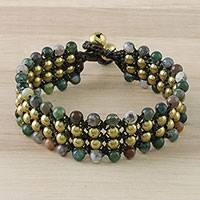 Agate beaded wristband bracelet, 'Dreams of Nature' - Agate and Brass Beaded Wristband Bracelet from Thailand