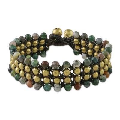 Agate and Brass Beaded Wristband Bracelet from Thailand