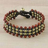 Jasper beaded wristband bracelet, 'Dreams of Nature' - Jasper and Brass Beaded Wristband Bracelet from Thailand