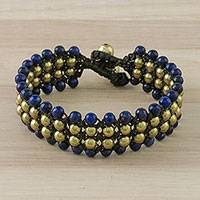 Lapis lazuli beaded wristband bracelet, 'Dreams of Nature' - Lapis Lazuli Beaded Wristband Bracelet from Thailand