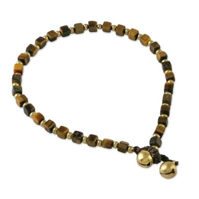 Tiger's eye beaded anklet, 'Forest Dreams' - Handmade Tiger's Eye and Brass Beaded Anklet from Thailand