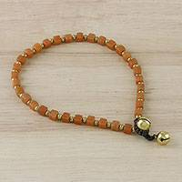 Quartz beaded anklet, 'Sunset Dreams' - Handmade Orange Quartz and Brass Beaded Anklet from Thailand