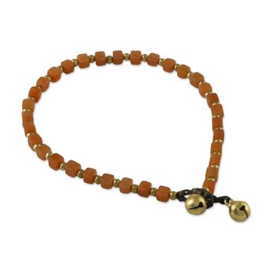 Handmade Orange Quartz and Brass Beaded Anklet from Thailand