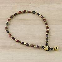 Jasper beaded anklet, 'Boho Bliss' - Handmade Jasper and Brass Beaded Anklet from Thailand